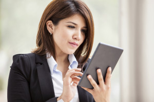 Saleswoman-with-tablet